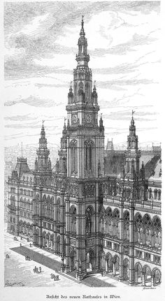"archimaps:""The new city hall, Vienna"" – architecture Plans Architecture, Architecture Concept Drawings, Architecture Sketchbook, Classic Architecture, Gothic Architecture, Historical Architecture, Beautiful Architecture, Landscape Architecture, City Drawing"