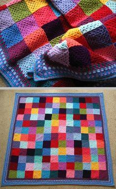Lucy's Granny Patchwork blanket - scrap yarn classic granny squares with a pretty border   . . . .   ღTrish W ~ http://www.pinterest.com/trishw/  . . . . #crochet #afghan #throw #attic_24 #attic24