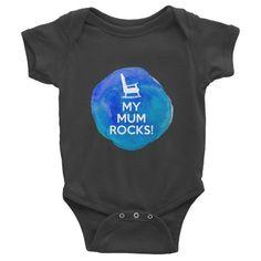 My Mum Rocks Blue Designer baby onesie, clothes