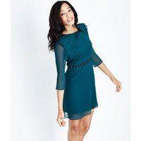 Dark Green Eyelet Trim Skater Dress New Look £19.99