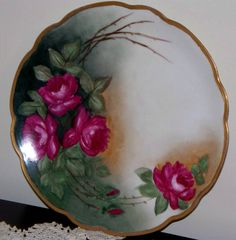 """MZ Austria Porcelain Hand Painted Roses Plate 8 1/2"""" BRANCHES & THORNES"""