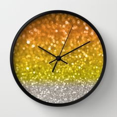 Candy Corn Bokeh Wall Clock by Lisa Argyropoulos