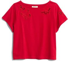 Madewell Butterfly Embroidered Eyelet Setlist Boxy Tee Short Sleeve Tee, Madewell, Nordstrom, Butterfly, Tees, Mens Tops, Clothes, Women, Google Search