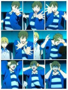 Makoto Tachibana and the many faces a Mom friend makes. Makoto Tachibana, Makoharu, Anime Guys, Manga Anime, Anime Meme, Swimming Anime, Otaku, Splash Free, Free Eternal Summer