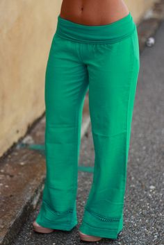 Lace Bottom Fold Over Linen Pants-Jade