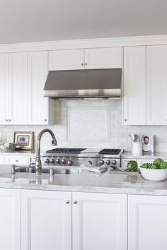 Lovely kitchen features a center island fitted with plenty of cabinets adorned with polished nickel knobs topped with quartzite fitted with a stainless steel sink and polished nickel gooseneck faucet.