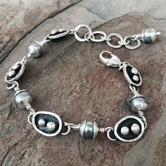 Silver and Grey Pearl Bracelet by Cold Feet Studio