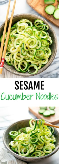 Sesame Cucumber Noodles. An easy, Chinese-style cucumber dish. Spiralized cucumber noodles are tossed in a simple sesame dressing.