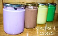 Planeta Virtual: Chalk paint casera (pintura efecto tiza) La mejor receta Tinta Chalk Paint, Pasta Flexible, Stencil Painting, Decoupage, Art Projects, Diy And Crafts, Mason Jars, Annie Sloan, San Martin