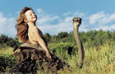 Hop on: Linda, a tamed ostrich in South Africa takes Tippi for a ride