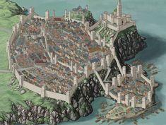 kampagne stadt The Capital-Shore City and the Grand Keep Fantasy City Map, Fantasy Town, Fantasy Castle, Fantasy Places, Medieval Fantasy, Fantasy World Map, Fantasy Concept Art, Fantasy Artwork, Rpg Wallpaper