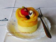 Needle felted cake Mango berries cake by FunFeltByWinnie on Etsy