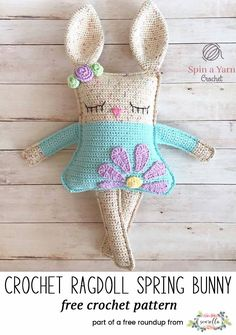 Crochet this amigurumi bunny rabbit from Spin a Yarn Crochet from my warm weather crochet projects for spring free pattern roundup!