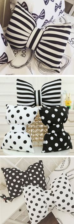 How to make bow pillows. Easy diy home decor. Fabric Crafts, Sewing Crafts, Sewing Projects, Craft Projects, Sewing Ideas, Pillow Crafts, Sewing Toys, Bow Pillows, Sewing Pillows