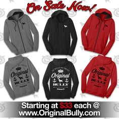 #OriginalBully men's and ladies' #ZipHoodies are on sale starting at $33 ea at www.originalbully.com ! Available in charcoal, black and red and in men's and ladies' sizes XS-4XL while supplies last! #ogb #bullylife #ogbully #bullylifestyle #pitbulllife #bullyclothing #bullyhoodies #bully #pitbullclothing #pitbullhoodies #fashion #pitbulltees #bullytees #dontbullymybreed #inbullywetrust