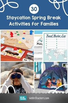Taking a staycation this year? These spring break activities will keep the whole family busy with puzzles, games, virtual trips, and crafts. Discounts For Teachers, Backyard Carnival, Virtual Field Trips, Sleeping Under The Stars, Outdoor Learning, Camping Crafts, Best Teacher, Student Learning, Staycation
