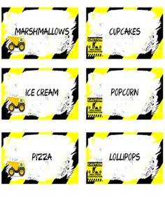 Construction Food Labels - FREE PDF Download
