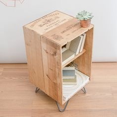 Reclaimed wooden wine crate furniture cabinet / coffee table / bed side table with hairpin legs – minimal up cycled mid century meets modern - Wood Crates Shipping