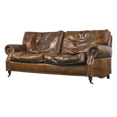 Vintage Leather 3 Seater Sofa Antique look leather sofa The leather has a realistic distressing and the foam and duckdown filled cushions give it a