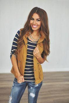 Fall fashion - mustard vest, navy & mustard striped shirt and distressed denim. Stitch Fix Fall 2016