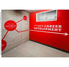 Stairwell and environmental graphics for MICA Career Development. Red dots, quotes, wall vinyl, super graphics, design, branding, wayfinding (6)