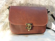 Hand made Earthy leather cross body bag with swivel clasp closure by RoundOakLeather on Etsy