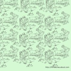 Free Printable Dolls House Nursery Wallpaper and Border with Farm Animals: Soft Green Dolls House Nursery Paper