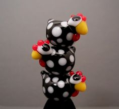One Glass Chicken Lampwork Bead Made To Order Hen SRA Folk Art Farm Animal Black White. $10.00, via Etsy.