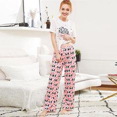 Women Round Neck Short Sleeve Long Pants Cute Sleepwear Casual Nightwear