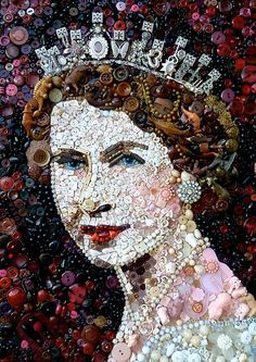 I think the Queen would approve of how Jane Perkins has recycled old buttons to create this portrait.  Just in time for the Queen's Diamond Jubilee.