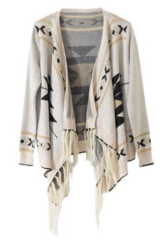 Knitted Geometric Pattern Print Light-cream Cardigan