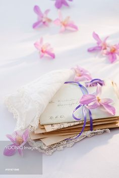 Yooniq images - Old letters wrapped in handkerchief with flowers around