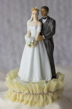 Tulle and Rhinestones Elegant Interracial Cake Topper - Multi-Ethnic Wedding Cake Toppers - Cake Toppers