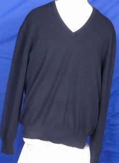 d74c31f5d88 Loro Piana Men s 100% Cashmere V neck Blue Sweater Size L  LoroPiana  VNeck