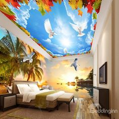 Fabulous Palm Tree by the Sea Sunset Scenery Pattern Combined 3D Ceiling and Wall Murals          - beddinginn.com