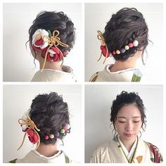 Kawaii Accessories, Hair Accessories, Girl Hairstyles, Wedding Hairstyles, Girl Hair Drawing, Up Styles, Hair Styles, Hair Arrange, Kimono Dress