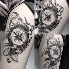 Compass & map ⚡️⚡️⚡️for my customer #edwardmiller #tattoo #compasstattoo #blackandgrey