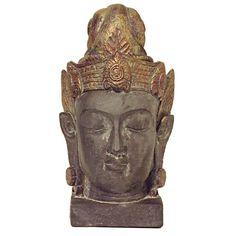 Grote Chinese vrouwelijke Buddha Urn Kwan Yin, hoofd op sokkel   (3 liter as-inhoud)