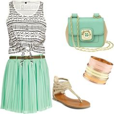 Channeling boho look with tribal top, mint green skirt and gladiator sandals