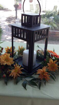 Lantern Fall Wedding Flowers, Fall Flowers, Lanterns, Weddings, Table, Furniture, Home Decor, Decoration Home, Autumn Flowers
