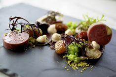Venison Terrine and Carpaccio, pickled mushrooms, grapes and pistachio, beans, mayo