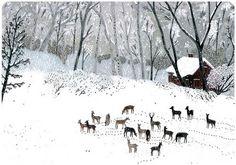 Winter painting by Becca Stadtlander - love!