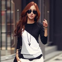 2016 Women T-shirt Long Sleeve Clothes Ropa Tee Shirt Femme Poleras Camisetas Mujer Black/Brown Ladies Casual T Shirt