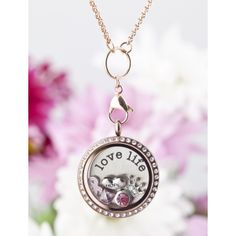 "Assembled "" LOVE LIFE"" Floating Locket Necklace. $60 Includes locket, chain, 1 metal plate, and 5 floating charms."