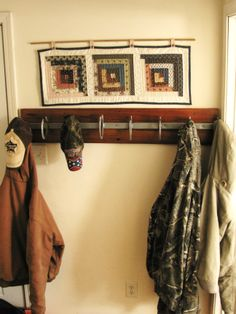 Horseshoe coat rack. We welded the horse shoes on a strong piece of metal to hold up big farm coats.