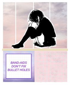 """""""Band-aids & Bullet holes"""" by degringolade ❤ liked on Polyvore featuring art"""