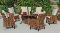 Salon de jardin acacia Siria 4 places avec coussins beige foncé ...