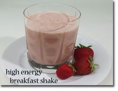 High Energy Breakfast Shake - Ingredients:      1 medium banana     1/2 cup whole strawberries     1-1/2 cup low-fat milk     2-1/2 TBS almond butter     2 TBS ground flaxseeds     1-1/2 TBS blackstrap molasses