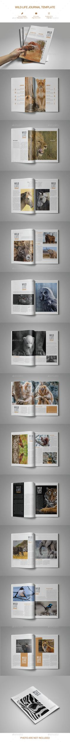 Wild Life Journal Magazine Template InDesign INDD - 26 Pages A4 & US Letter Size