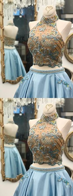#Blue Prom Dress #Long Prom Dress #Rhinestone prom dress #Beautiful prom dress #Halter prom dress #A-line prom dress #cheap prom dress